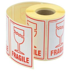 Glass roll fragile labels